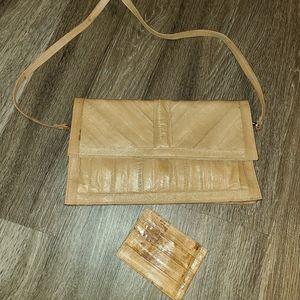 Leather of the Sea Eel Skin 80's Tan Vintage Purse